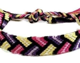 Pink, Purple & Yellow Bordered Braid Pattern Embroidery Macrame Friendship Bracelet, Spring Friendship Bracelet