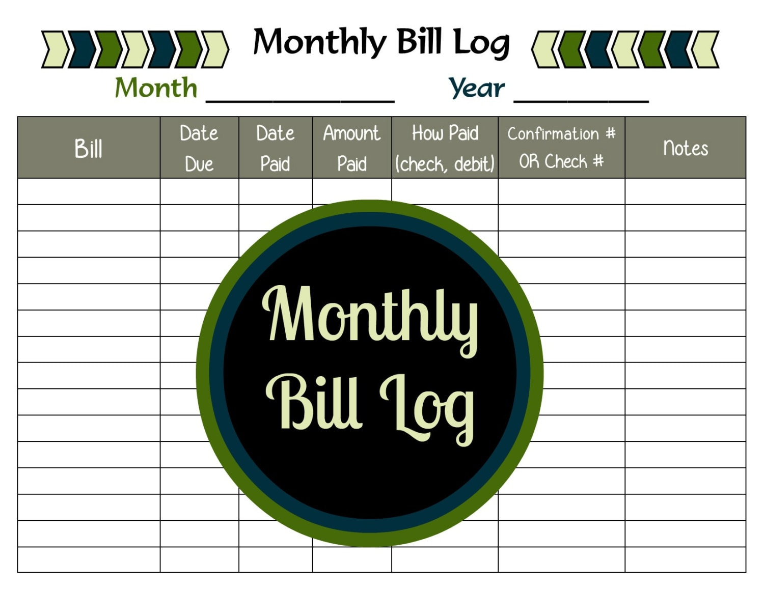 Monthly Bill Log Printable Payment Tracker PDF