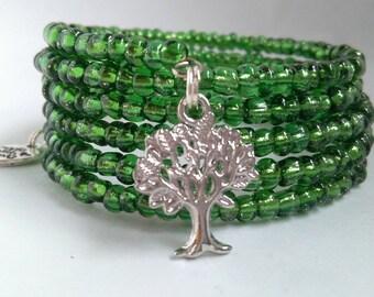 Green Forest Tree Seed Bead Bracelet