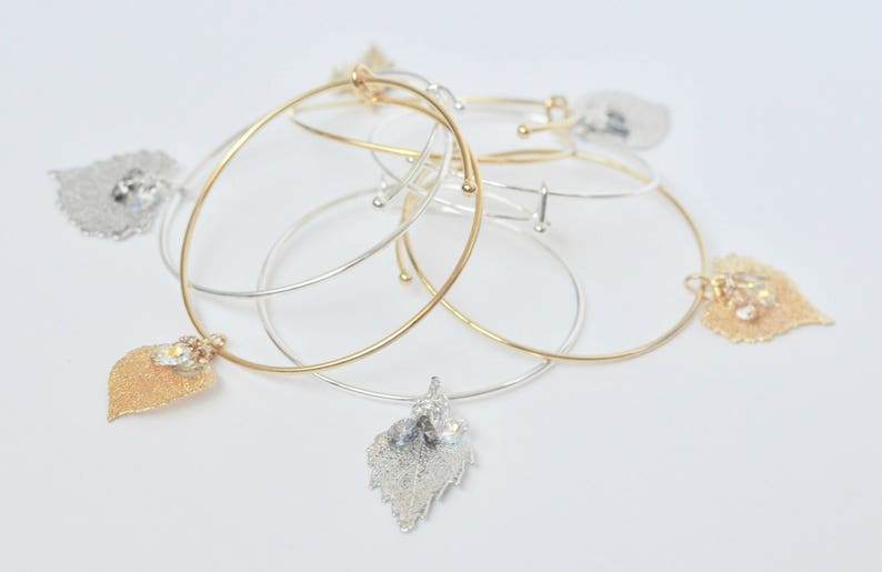 Real Leaf Jewelry Stacking Bracelet Leaf Charm Bracelet Silver Charm Bangle Woodland Jewelry -Layering Leaf Bangle Bracelet-Mom Gift
