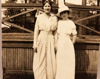 2 Women Antique Photograph Sepia 1910 Fashion