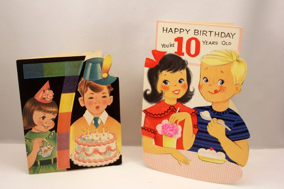 2 Juvenile Birthday Cards Cute Boys Girls 7 And 10 Year Old