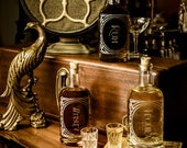 Scotch - The Constance Single bottle-Etched Glass Spirit Decanters-Gift to dads, grads or any home bar enthusiast in your life.