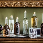 Etched Glass Spirit Decanters - The Variance Complete Set of 6