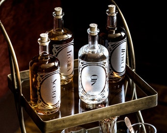 Etched Glass Decanter Set | Aesthetic Home Decor and Bar cart styling, fun for cocktail hour!