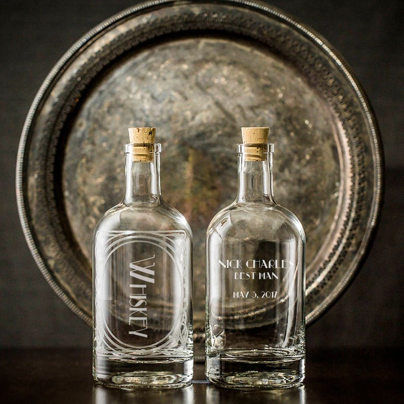 Personalized Etched Spirit Decanter Home Bar Or Bar Cart Etsy