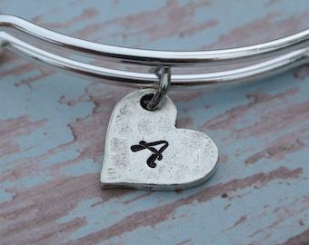 Custom initial charm / Personalize bracelet / hand stamped  initial charm / initial heart charm