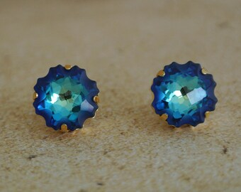 Jellyfish Swarovski crystal earrings // Beach Wedding // Bridesmaid gift // Bermuda Blue Crystal // Jelly fish earrings