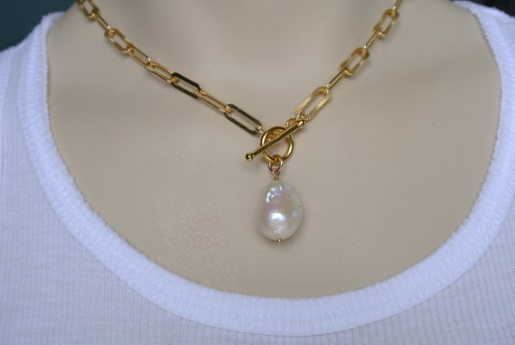 Chain link necklace with pearl Paperclip chain necklace with pearl Silver color chain with pearls