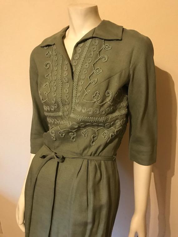 Vintage 1950s Carlye Dress Green wiggle superb des