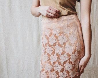 Vintage 90's high-waisted rose gold skirt | Vintage silky bodycon skirt | Floral high rise size xs small skirt | Peach flower rayon mini