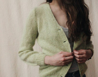 Vintage hand-knit green mohair cardigan | Vintage pastel green fluffy sweater | Soft 1960s style button-up cardigan | Light green sweater