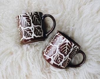 Vintage brown ceramic leaf motif mug set | Mid century abstract design mug pair | 1960s minimalist coffee tea cup set