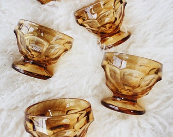 Vintage amber dessert goblets | Mid century Whitehall style orange sherbet cups | 1960s sculpted Indiana glass style sundae bowls