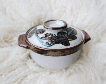 Vintage small ceramic casserole dish | Small Japanese Otagiri style serving dish | Mid century abstract blue brown floral pottery