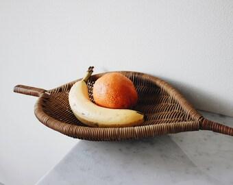 Vintage decorative rattan basket   Vintage wicker bohemian home decor   Rattan wicker minimalist woven wall art   Midcentury boho basket art