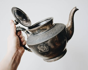 Vintage Reed and Barton 3030 silver plated teapot   Ornate initial engraved silver teapot   Cashmere Band patina tea set antique 1880s