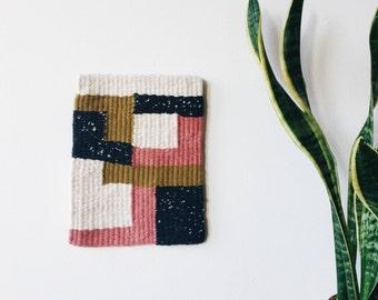 Abstract geometric tapestry weaving | Minimalist style woven artwork | Handmade woven wall hanging | Woven wall art | Modern fiber art