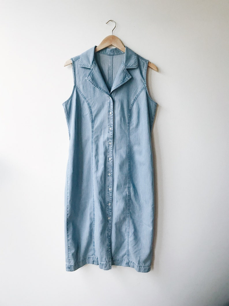 3ad451498b1701 Vintage 90 s denim dress Sleeveless collared washed out