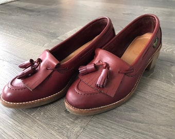 d6d2cba0d0e Vintage Classic Bass Woman s Fringe Stacked Loafers Woman Size 6.5M Brown  Leather Loafers
