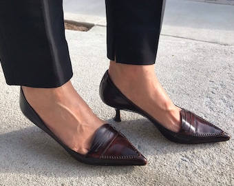86c5497d75 Vintage Manolo Blahnik Stiletto Heels /Penny Loafer Style Pointed Toe Pumps/Reddish  Brown/Stitched Detail/ size woman 37
