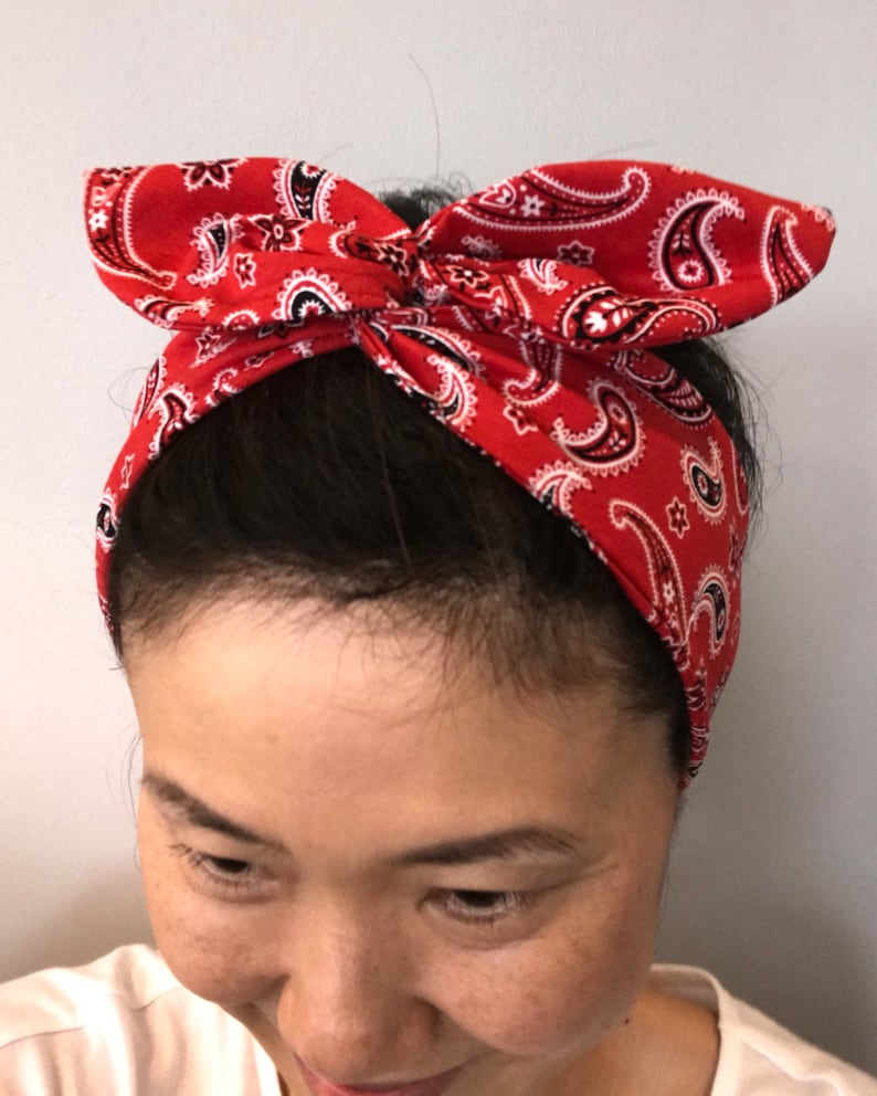 Cotton Fitted Bandana Headscarf Scarf Red Black White Paisley One Size Easy Tie