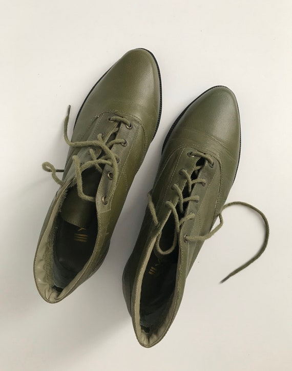 80s Vintage Olive Green Leather Lace Up  Ankle Boo