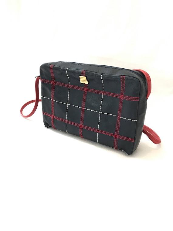 Vintage Lanvin Stitch Crossbody Bag/Red Blue Check