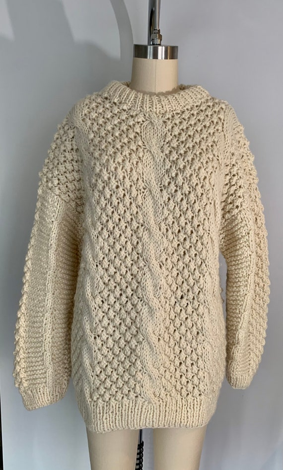 Vintage Fisherman's Wool Chunky Popcorn Cable Knit