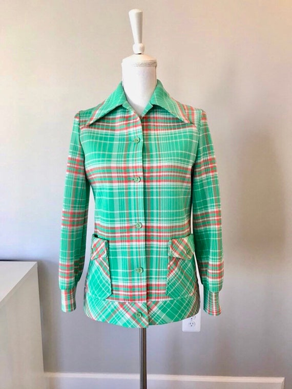 1960s  Geek Chic Big Checker Plaid Shirt Jacket/ N