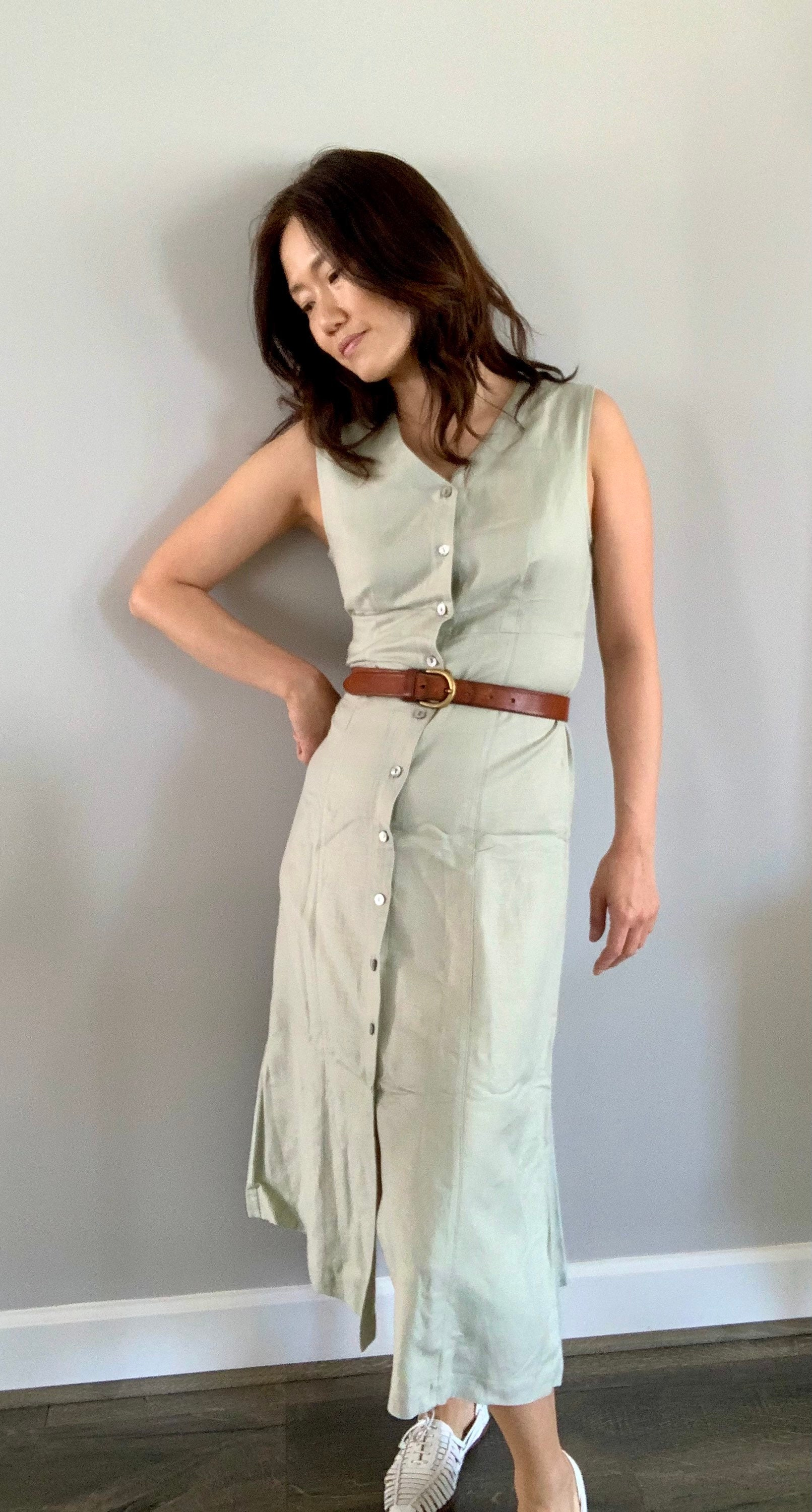 80s Dresses | Casual to Party Dresses 1980S Linen DusterSleeveless Maxi Dress Size 4P, XsmallSage Green $75.65 AT vintagedancer.com