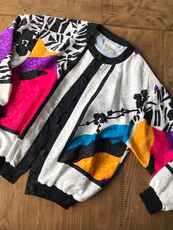 Vintage 80s Silky Jumper Jacket/Colorful Prints/Co