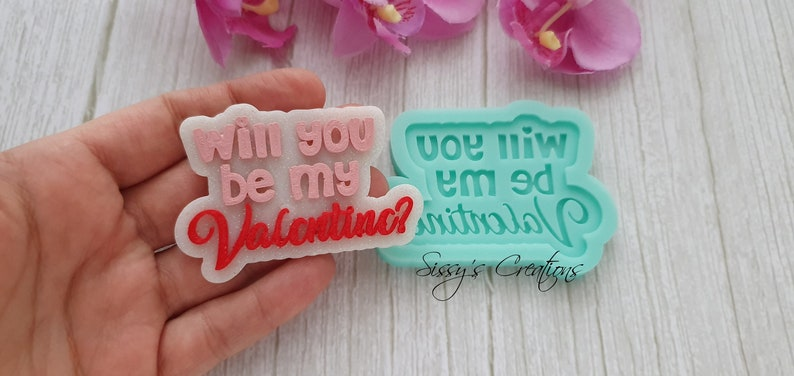 7 cm VALENTINE Word Mold for Resin and Polymer Clay