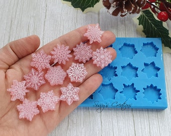 12 Tiny Christmas Snowflakes Mold, 2 cm, for Resin and Polymer Clay
