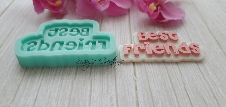 7 cm for Resin and Polymer Clay BEST FRIENDS Word Mold
