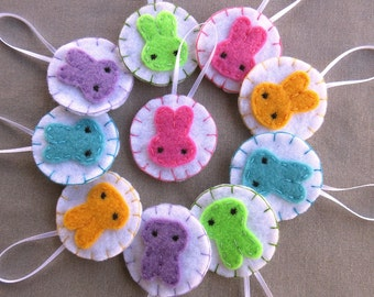 10 Pastel bunny ornaments, felt rabbit decorations, cute Easter bunnies, baby shower ornaments, embroidered ornies, bunny ears, spring decor
