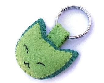 Grüne Plüsch Katze Schlüsselanhänger, Schlüsselanhänger Katze, gefüllte Kätzchen Plushie, grünen Filz Kätzchen