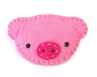 Cute pink pig brooch, baby piggie jewelry, hog pinback button, farm brooch pin, little piggy swine, pink fabric piglet, pig nose
