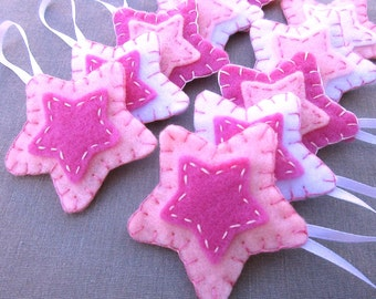 10 pink star decorations, candy pink star ornaments, pastel pink and white nursery decor, pink felt star, pink fabric ornies, girls room