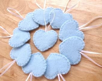 10 Blue heart decorations, light blue wedding decor, blue felt ornaments, felt wedding favors, blue felt hearts, set of 10