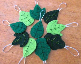 10 green spring leaf decorations, summer leaves decor, easter party spring wedding ornaments, plant forest nature greenery garden