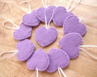 10 lavender heart ornaments, purple felt decorations, purple wedding decor, lavender wedding favors, felt hearts, set of 10