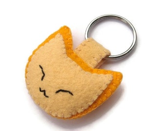 Cute felt cat keychain, ginger kitten key ring, plush yellow kitty, embroidered key chain