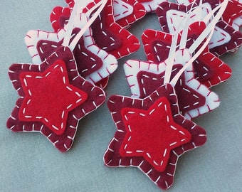 10 red star decorations, red felt stars Christmas ornaments, scarlet crimson cherry red fabric stars, hanging star shapes, red holiday decor