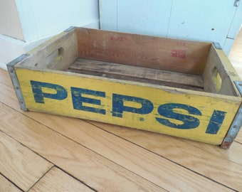 Awesome Yellow and Blue Pepsi Cola Wood Crate