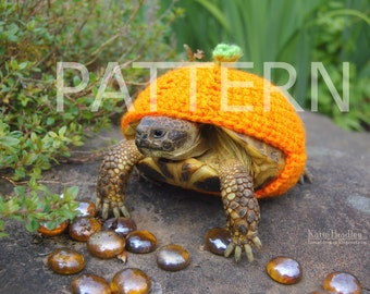 NEW crochet PATTERN instructions for a pumpkin cozy for tortoises