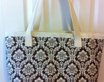 Large Tote Bag of Canvas and Brown Print Cotton
