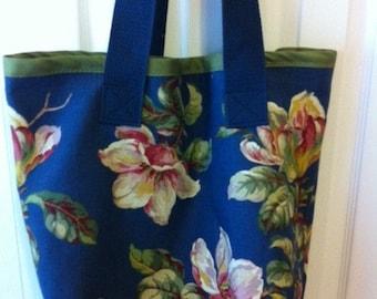 Large Tote Bag of Blue Floral Print Cotton