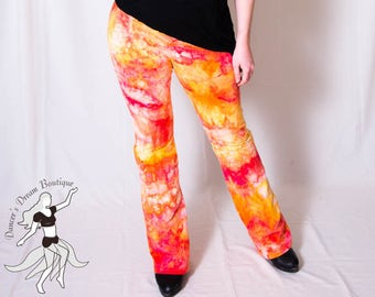OOAK Custom Dyed Stretchy Cotton Spandex Yoga Pants with Wide Waist Band in Vibrant Red, Yellow, and Orange Colors
