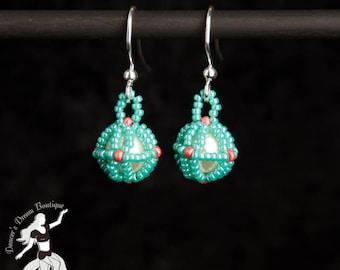 Ocean Coral Temari Ball Earrings